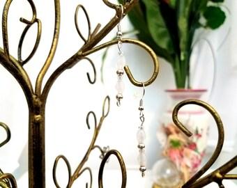 Beaded Wire Earrings by Anne O'Brien Design / Wedding White Silver Wire Earrings
