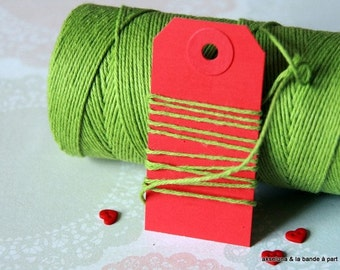 Baker's Twine green solid - 10m- thickness 1mm-easter baker's twine, gifts string, green twine, cotton twine
