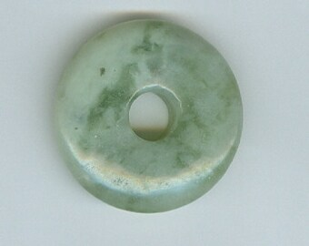 32mm Light Green White Agate Gemstone PI Donut Pendant Doughnut 1202