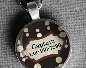 Red white and black patterned Pet iD Tag colorful round Dog Tag 35mm round for large breed dogs-  by California Mutts