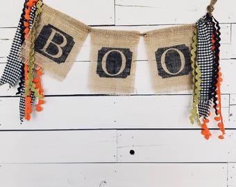Boo Burlap Banner - Boo Burlap Garland - Burlap Banner with fabric - Halloween Boo Banner - Halloween Burlap Banner - Boo Garland - Gingham