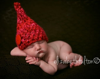 Red Button Newborn Gnome Elf Hat