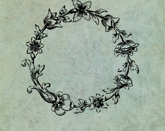 Round Floral Wreath  - Antique Style Clear Stamp