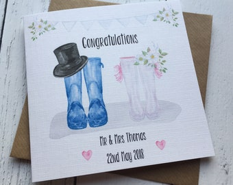 Beautiful Wellie Personalised Wedding card ~ And they lived Happily ever after ~ congratulations~ newlyweds ~ mr & mrs ~ wedding day