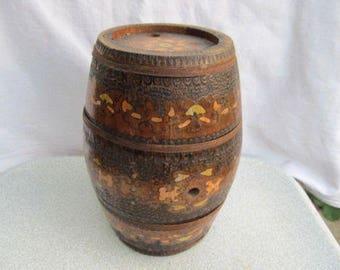 Old vintage wooden hand carved keg flask barrel hand painted