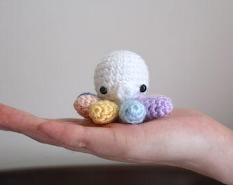 Crocheted Amigurumi Pastel Rainbow Octopus