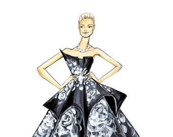 Karolina Kurkova - Marchesa - Fashion Illustration - Brooke Hagel
