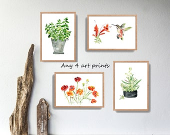 Any 4 art prints, pick your four art prints, Watercolor prints, mini Art collection, kitchen art, nursery decor, wild life, interior design