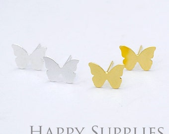 Nickel Free - High Quality Butterfly Dual-used Golden / Silver / Rose Gold Brass Earring Post Finding with Ear Studs Back Stopper (ZEN066)