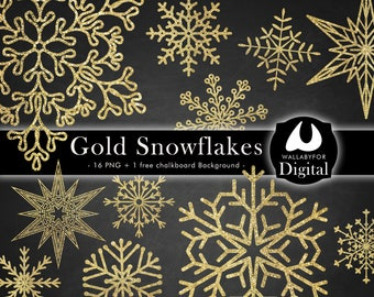 Snowflakes clipart Glitter Christmas clip art Glitter gold Christmas Snowflake png on transparent background Xmas printable Instant download