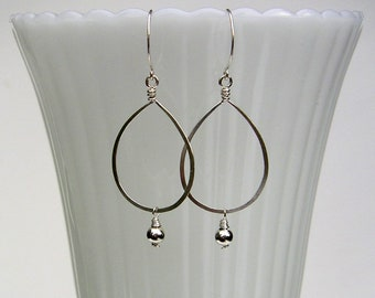 Sterling Silver Teardrop Hoops Teardrop Earrings Long Beaded Hoop Dangles Hammered Silver Hoops Bride Earrings Romantic Earrings