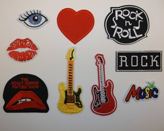 I Love Rock & Roll Music Project Patches (SET of 9) Embroidered Appliqued~Iron Sew on~Free US Mail~International Mail Available