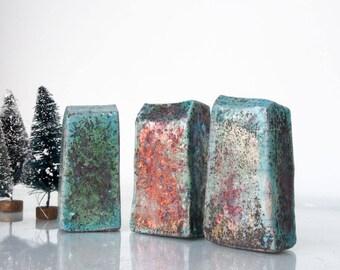 Set of 3 Raku Ceramic houses, Raku fired Ceramic houses Handmade Unique Ceramics  Architectural Home decor, raku pottery