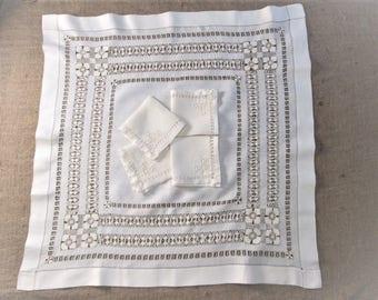 Antique Tablecloth Napkins White Linen Luncheon Tea Cloth Bridge Cloth Tenerife Lace Drawnwork Handmade Vintage Linens