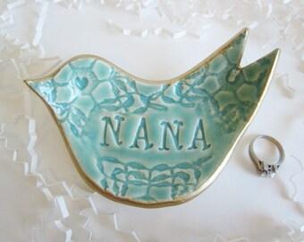 Gift for Nana ceramic ring holder, Grandmother gift dove ring dish with gold rim