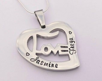 Personalised heart necklace - love necklace - name necklace - birthday gift - mum necklace - gift for mum - gift for wife - anniversary gift