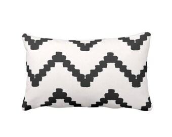 "Chunky Chevron Print Throw Pillow, Black & White 14 x 20"" Lumbar OUTDOOR or INDOOR Pillows/Covers, Geometric/Stripe/Hand-Drawn LinesPattern"