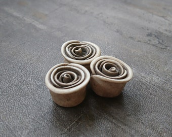 Rose Bead in Taupe, polymer clay rose bead