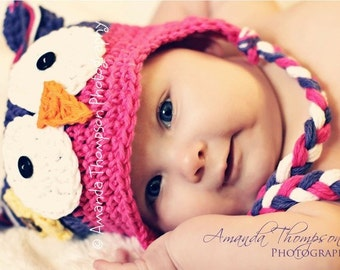 Purple and Pink Owl hats, Crochet baby hats, Newborn to 6 mnth, Baby girl Owl hats, Owl hats for girls