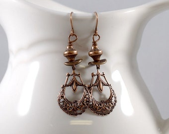 Just Copper Earrings, Copper Earrings, Everyday Earrings, Long Earrings, Antique Copper Earrings, Teardrop Earrings, Metal Earrings, E045