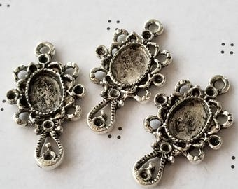 Antiqued silver Mirror Charms
