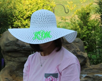 Monogrammed Floppy Straw Hat/ Beach Hat/ Sun Hat/ Bridesmaids