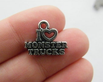 4 I love monster trucks charms antique silver tone M597