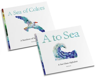 Sea Glass Books - Set of 2 - Alphabet and Colors Children's Books, Seaglass Art Mosaics, Great for Kids (and adults!), Baby Shower, New Mom