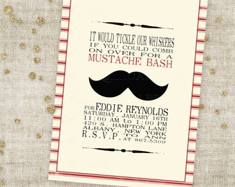 Mustache Bash Barber Shop Style Boy Birthday Invitation with Red Stripes and Black 'Stache Custom Invites with Professional Printing Option