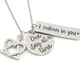 One day at a time recovery necklace - i believe in you AA symbol - AA jewelry - sobriety necklace - gift for sobriety - 30 days sober