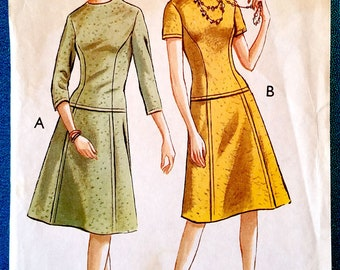 "Vintage 1960's drop waist dress sewing pattern - Style 1452 - size 34"" bust, 27"" waist, 37"" hip - 1960s"