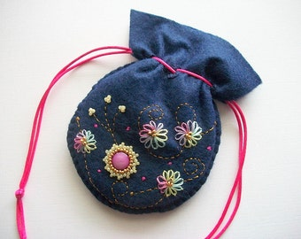 Jewelry Pouch Navy Blue Felt Drawstring Bag with Hand Bead Embroidery Dots and Swirls Handsewn