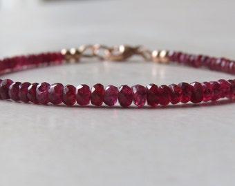 Dark Red Spinel & Rose Gold Bracelet