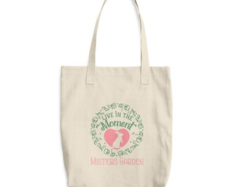 Live in the Moment Cotton Tote Bag - Inspirational Bunny Lover Gift - Grocery Reusable Bag - Cotton Canvas Rabbit Bag - Mister's Garden