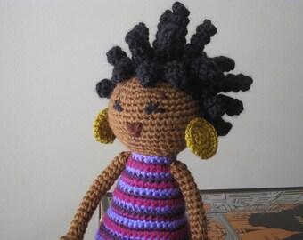 CROCHET PATTERN - African Princess and the Pea Doll Plush Amigurumi Locks Dreads Natural Black Hair Stuffed Toy Baby Girl tutorial PDF