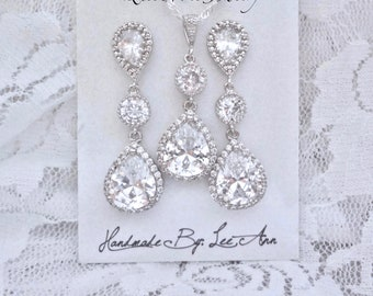 Brides jewelry set Necklace and earring set Cubic Zirconias Teardrops Wedding Bridal jewelry Sterling necklace and posts High end FAY