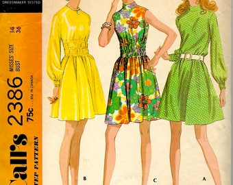 1970's Dress Sewing Pattern , McCall's No. 2386 , Mini A-Line  Dress with Round or Banded Neckline and Elasticized Midriff , Bust 36