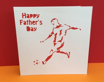 Football Card - Birthday Card - Father's Day Card - Soccer - Footballer - Paper Cut - Sport - for a Man - Personalised - Husband, Boyfriend