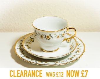 CLEARANCE Vintage Tea Party Trio set, Porcelain Tea Cup, Saucer and Side Plate, White Yellow Flowers, Scalloped Gold Trim