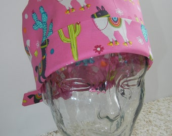 Tie Back Surgical Scrub Hat with Llamas on Pink