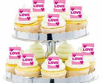 12pk Pink Love Cupcake  Decoration Toppers Picks
