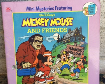 Vintage 1989 Disney's Mickey Mouse book, Mickey Mouse and Friends, mystery of the Haunted Hotel, The Case of the Missing Hat, Mickey Mouse