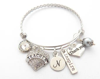 Teacher Retirement Gift-Personalized TEACHER Retirement Bracelet TeacherJewelry-Teacher Thank you gift from stall-End of year  gift=School
