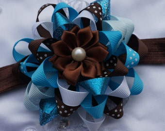 blue hair bow, blue and brown hair bow, baby blue hair bow, holiday hair bow,baptism hair bow, baby hair bow, Christmas hairbow