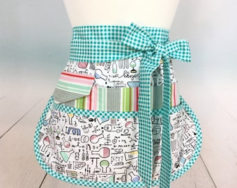 Science Theme Half Vendor/Utility Sassy Apron, Womens Regular and Plus Sizes, 6/8 Pockets, great for Teachers, Gardening, Crafts