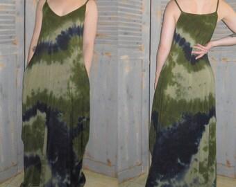 Maxi Dress, Tie Dye Festival Dress, Boho, Hippie, Gypsy, Sleeveless, with Pockets