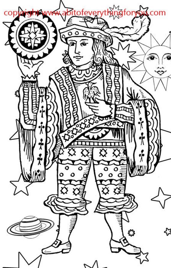 coins man tarot card Coloring Page  printables Adult Kids download Colouring Page line art Craft Activity digital stamp
