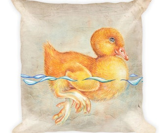 Duckling  -  Square Pillow  -  18x18     SHiP fROM USA