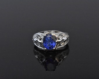 18K White Gold Blue Sapphire and Diamond Ring - GIA CERTIFIED!