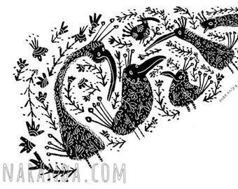 Flower Birds - Original Illustration